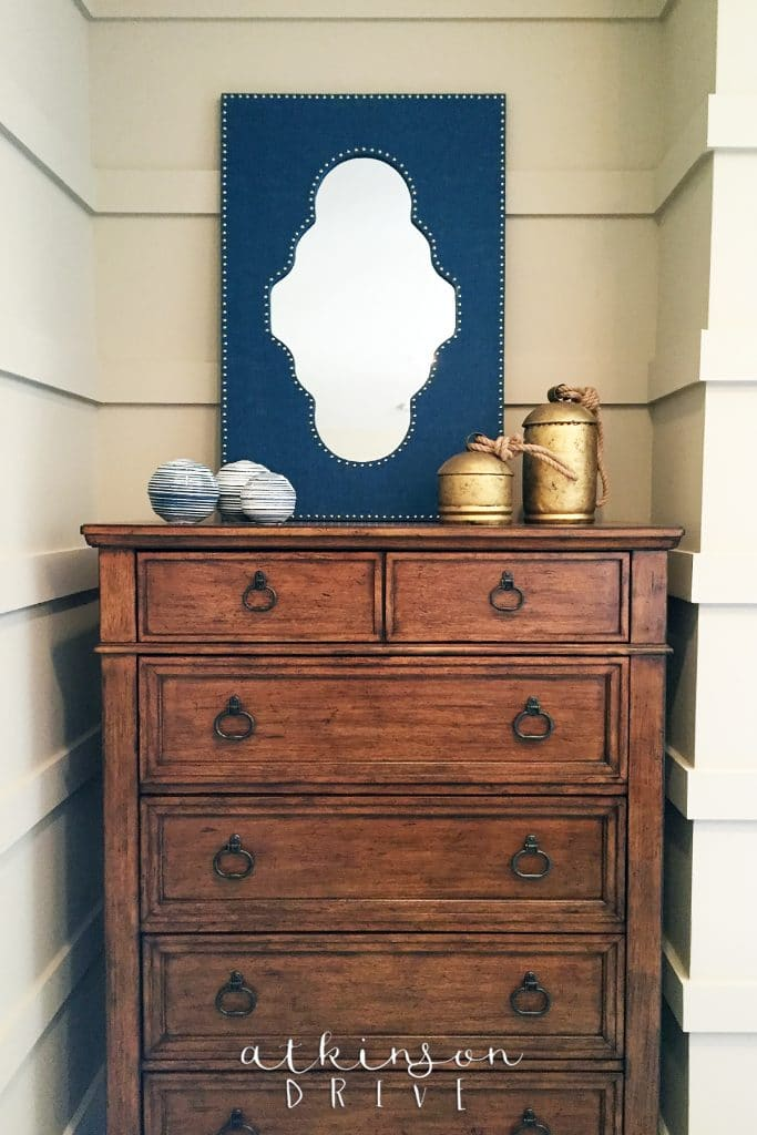 Bedroom alcoves are the perfect place to put dressers so they're out of the way