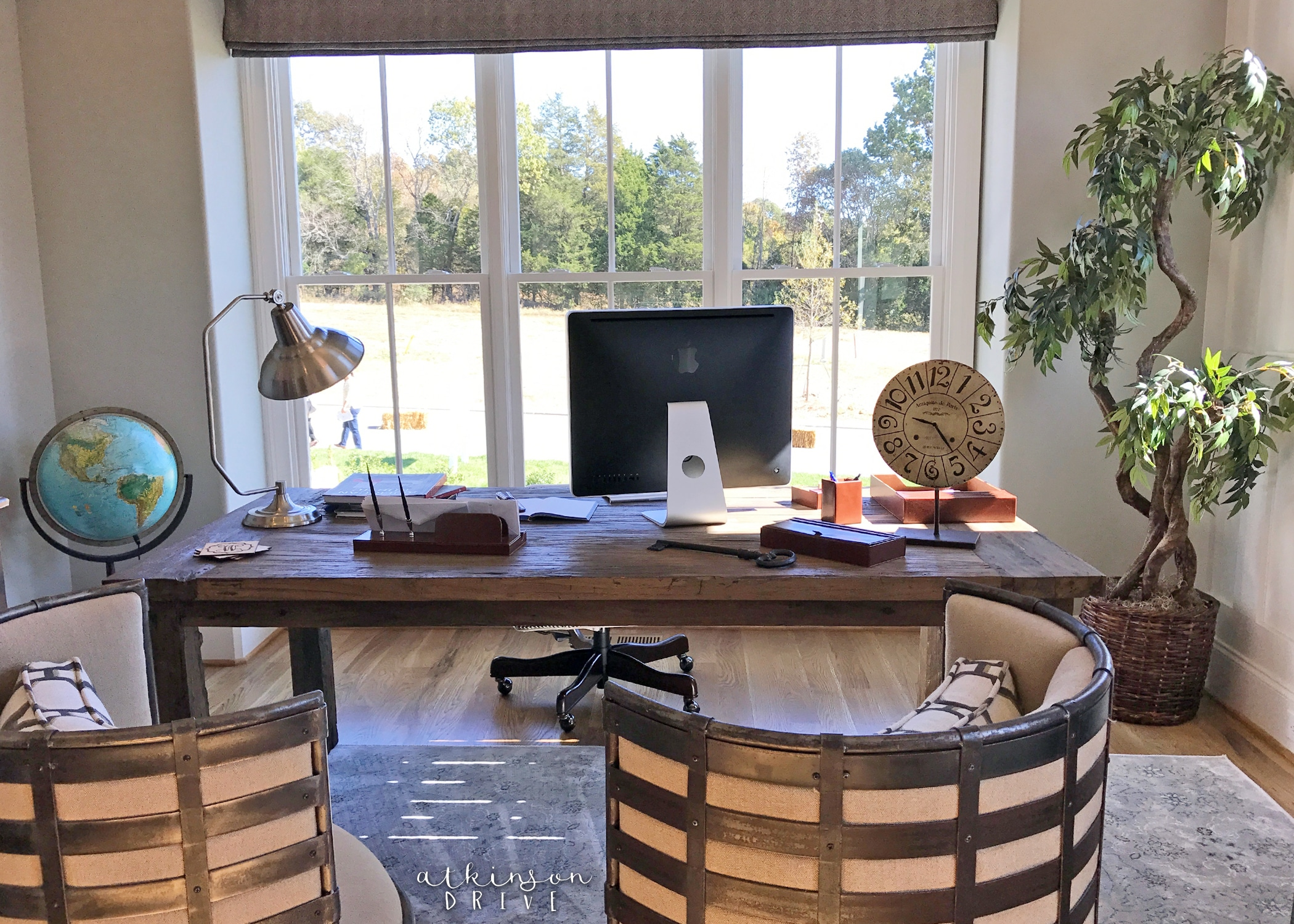 Rustic office with lots of light /// Woodridge Home Tour by Atkinson Drive