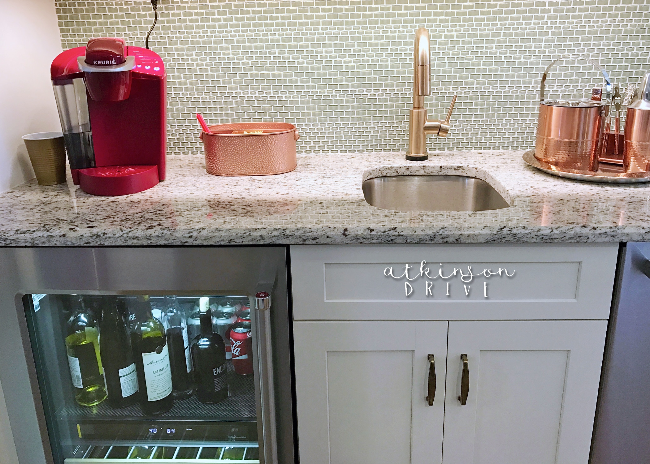 Butler's pantry with a beverage fridge and coffee bar /// Woodridge Home Tour by Atkinson Drive