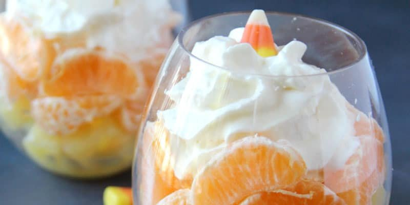 Healthy Halloween Snack: Candy Corn Fruit Cocktail