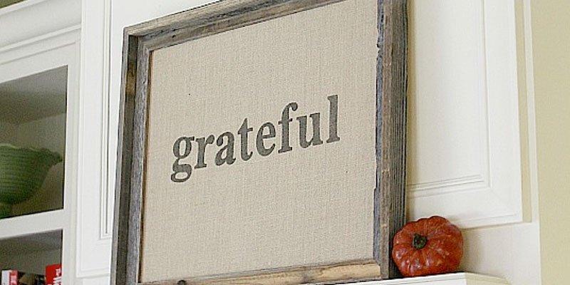 "Framed Burlap ""Grateful"" Fall Art"