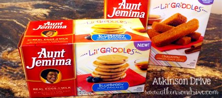 """Aunt Jemima Lil' Griddles: """"Every batch made from scratch."""" Perfect for families on the go!"""