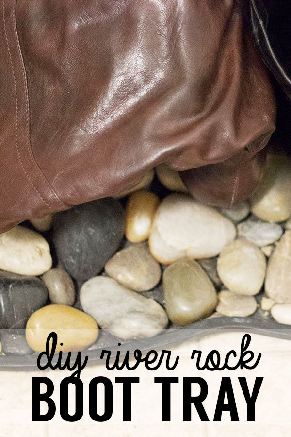 Keep your floors clean and your mudroom organized with these DIY river rock boot trays! Turn an ordinary household item into a stylish household accessory!