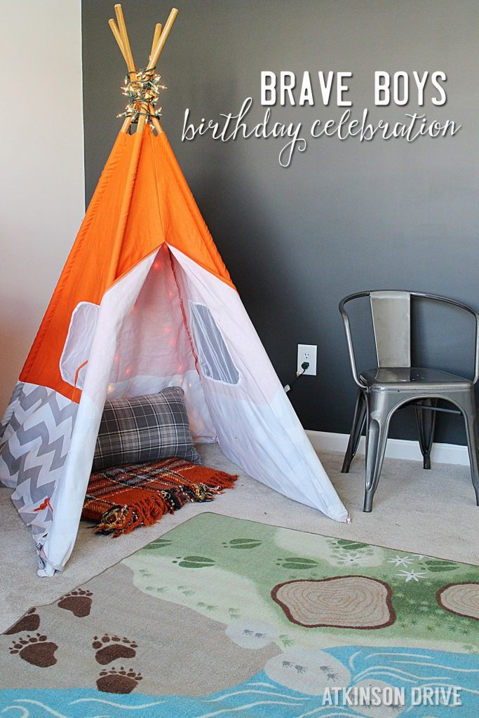 An outdoor-inspired Brave Boys birthday party for brothers featuring cookie pizza and trail mix bars!