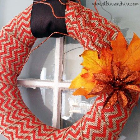 Chevron Burlap Fall Wreath