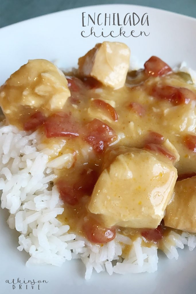 Your family will love this zesty enchilada chicken meal (and bonus - it's for the crockpot)!