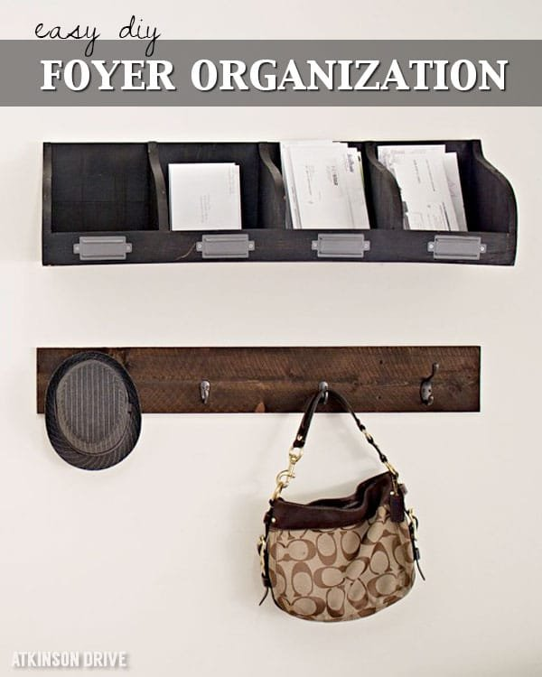 Organize your entry way this Winter with an easy DIY option for organizing coats, hats, purses, and more! This project is beautiful and functional! /// by Atkinson Drive