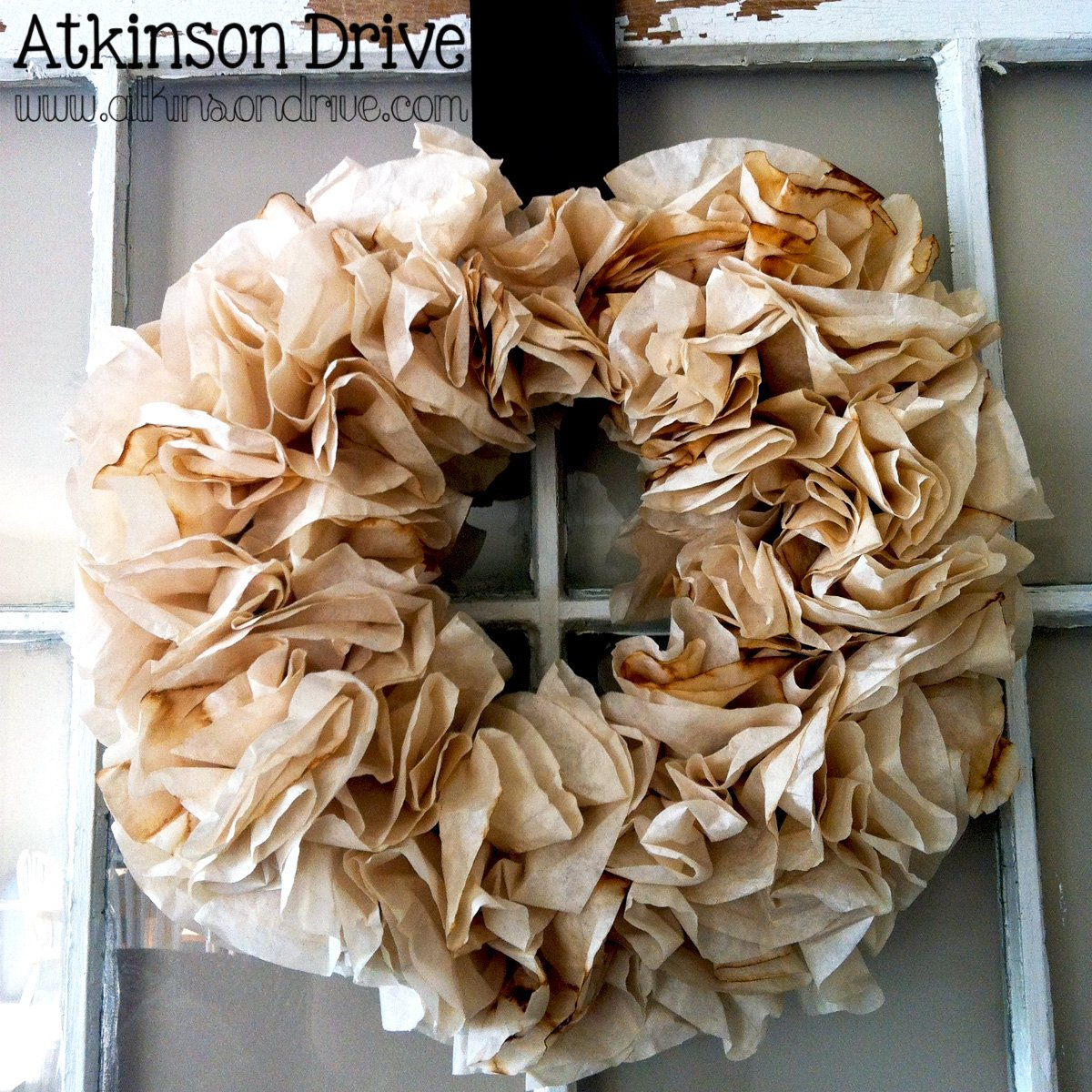{Tea-Stained} Coffee Filter Wreath
