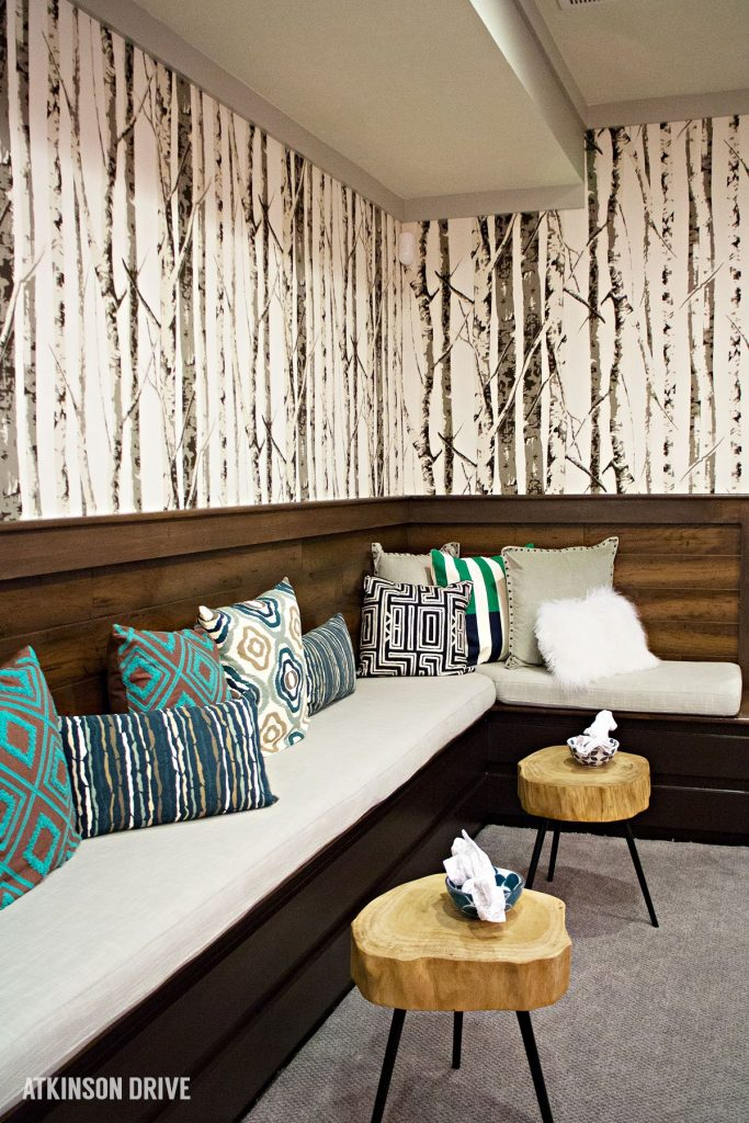 Home-a-Rama 2014: Basement bench seating with wooden stools as tables   Atkinson Drive