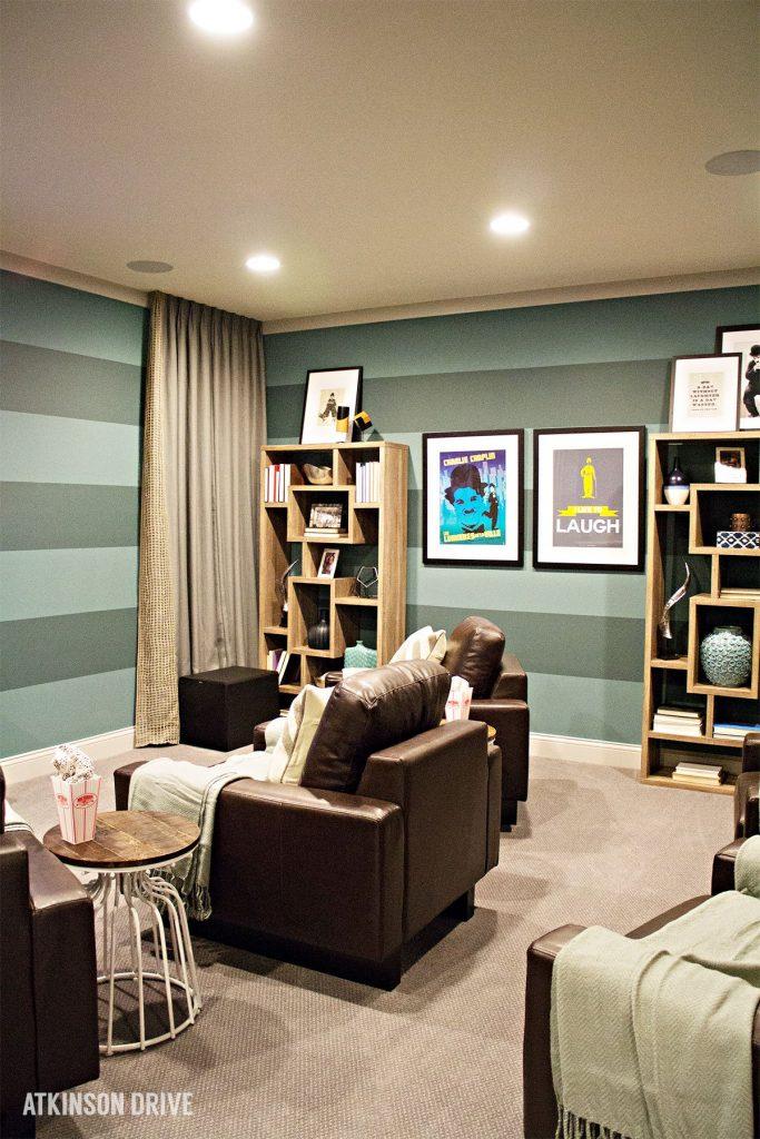 Home-a-Rama 2014: Colorful and comfortable basement media room   Atkinson Drive