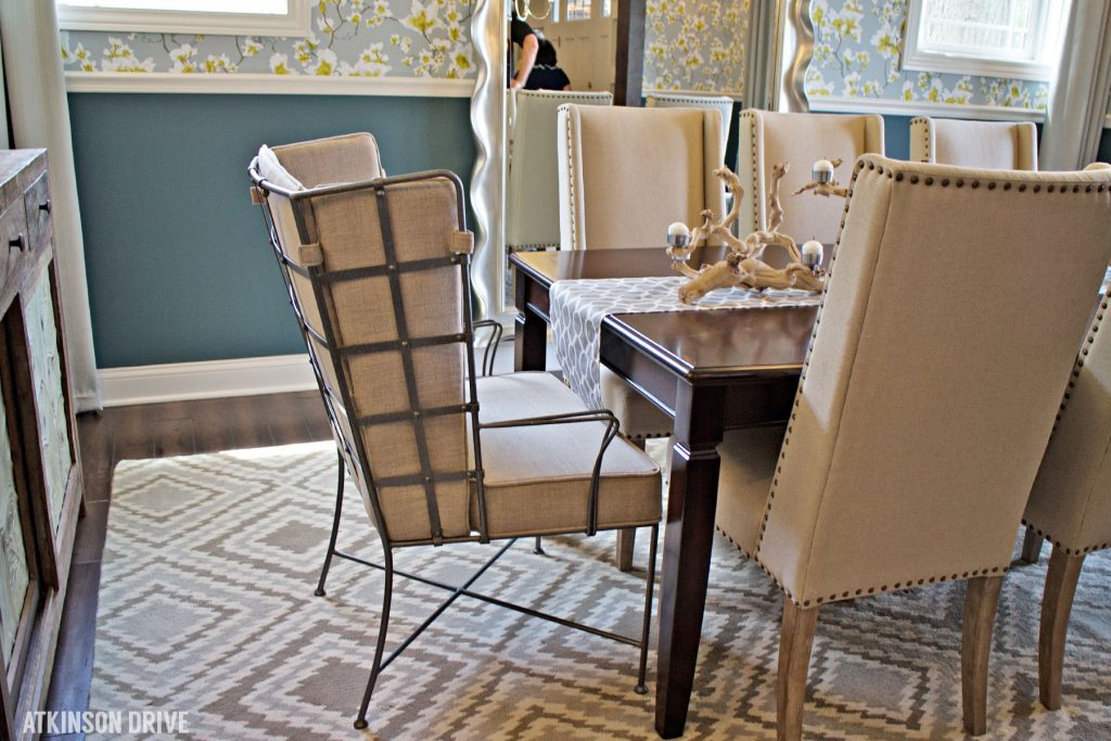 Home-a-Rama 2014: Linen and metal dining chairs for a rustic modern look   Atkinson Drive