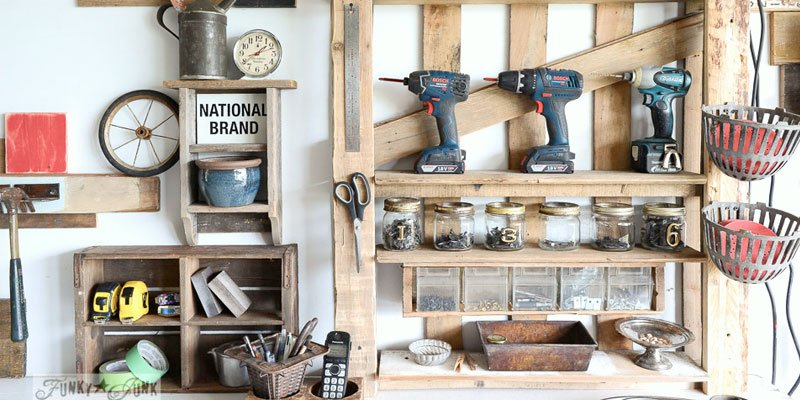 Pallet wood power tool organizer for the garage