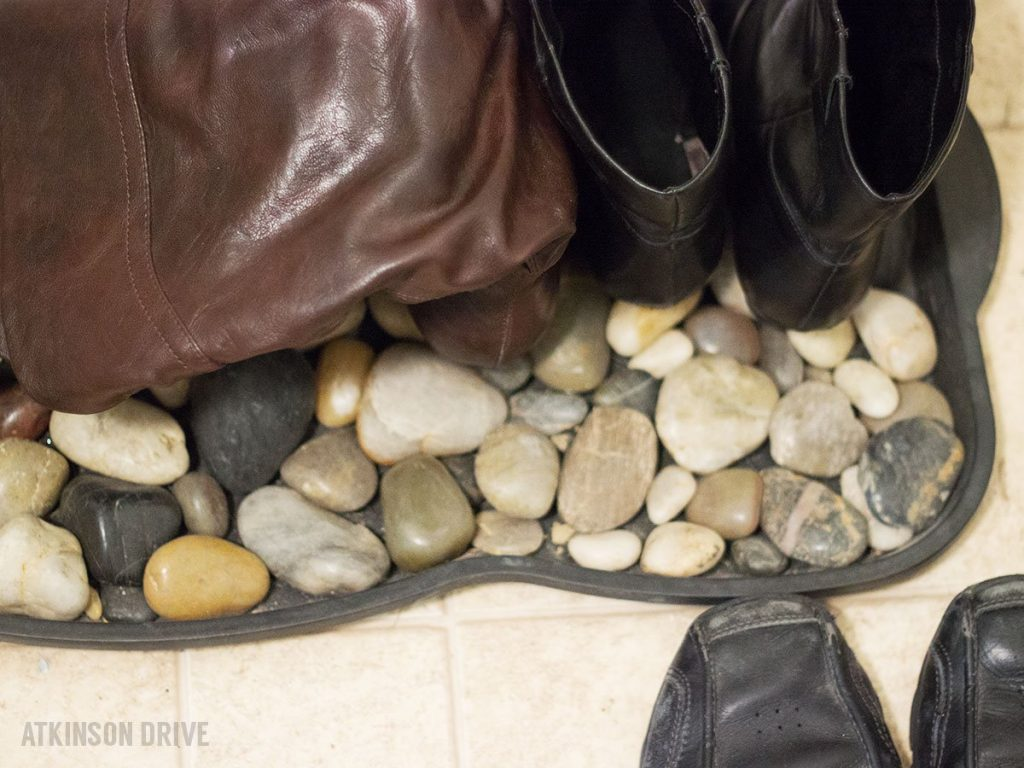 DIY River Rock Boot Tray