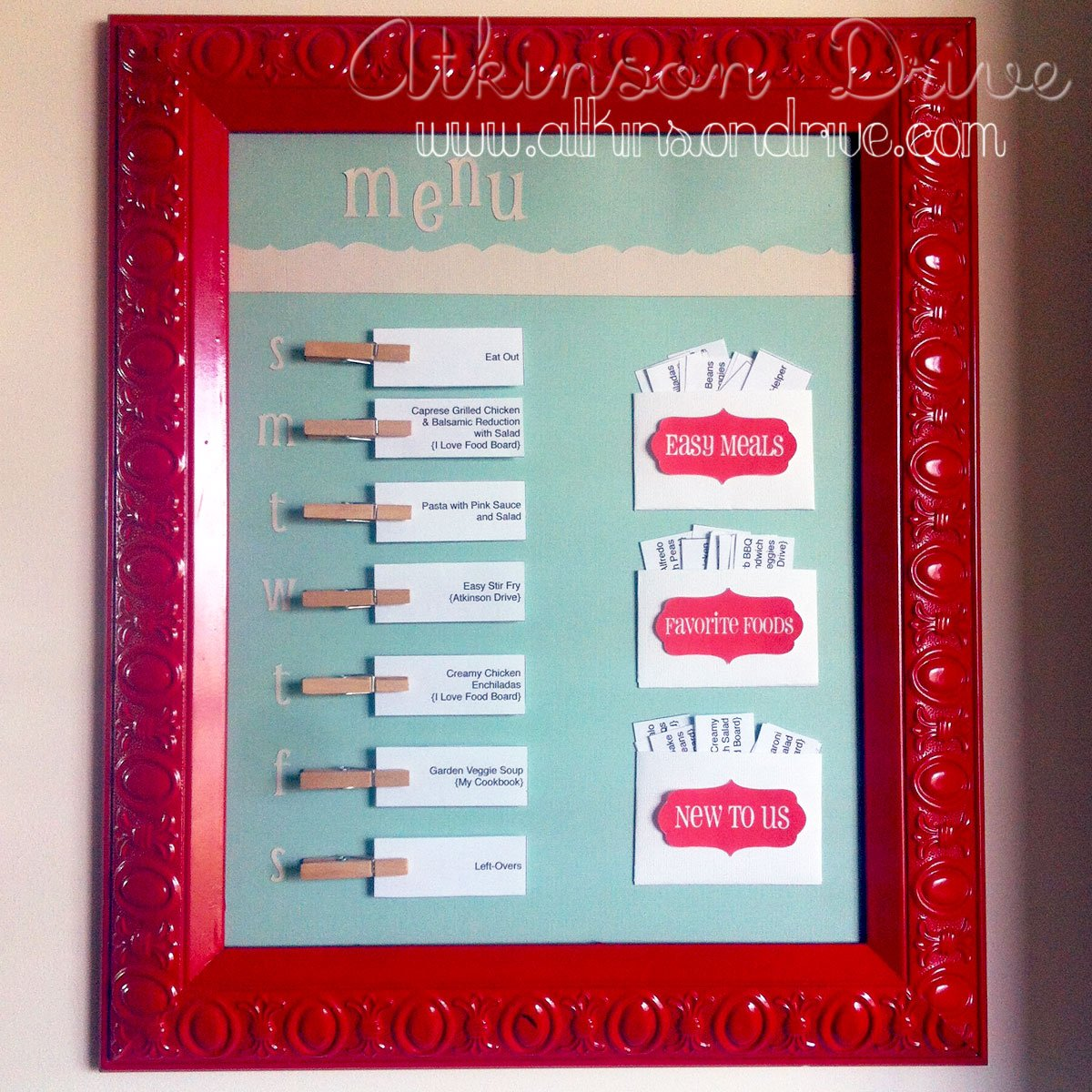 Homemaker Monday {Weekly Menu Board}