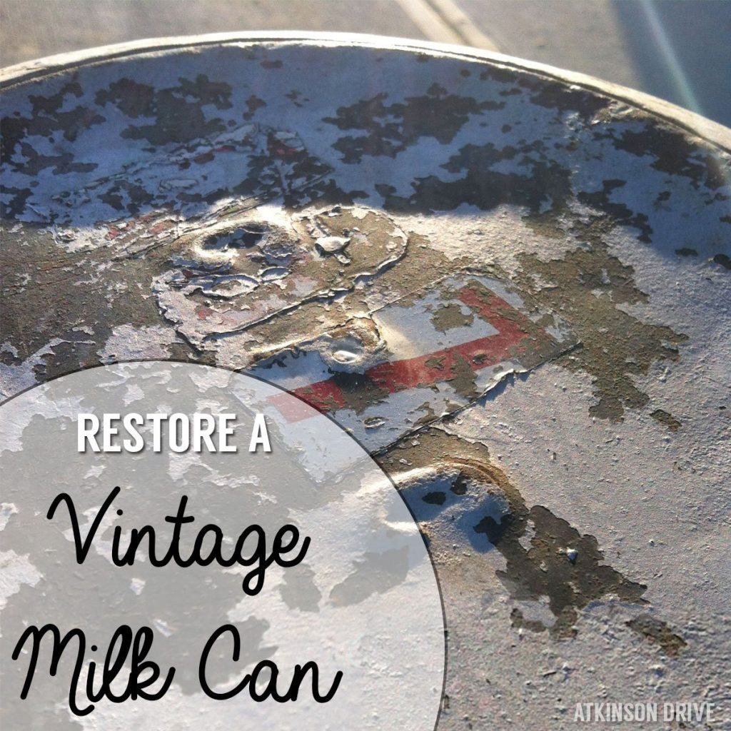 Using a vintage milk can is a great way to add some side-table space to a small area. They're great for setting a drink down or holding a candle. Read on for tips & tricks on restoring a vintage milk can! /// by Atkinson Drive