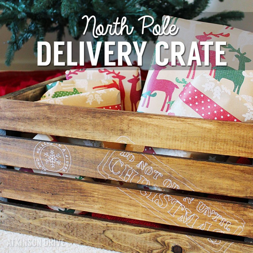 """Keep the spark of Christmas alive with this DIY """"Do Not Open Until Christmas"""" North Pole Christmas gift delivery crate! /// by Atkinson Drive"""