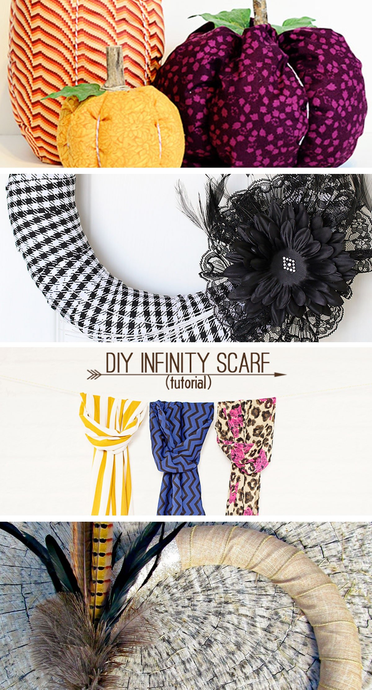 Inspiring Fall Projects to Try! /// Pinworthy Projects Party Features /// Fabric Pumpkins, Halloween Wreath, DIY Infinity Scarves, Feather Wreath