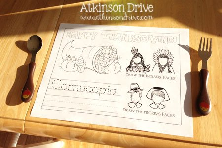 Give your kids a fun and entertaining space for Thanksgiving this year with an adorable and affordable kids Thanksgiving table! /// by Atkinson Drive