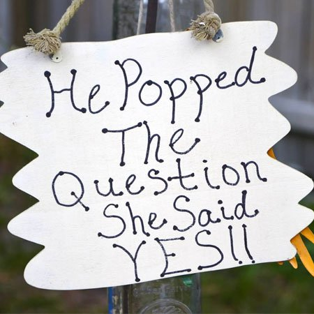 """""""He Popped the Question - She Said Yes"""" - Popcorn Bar 