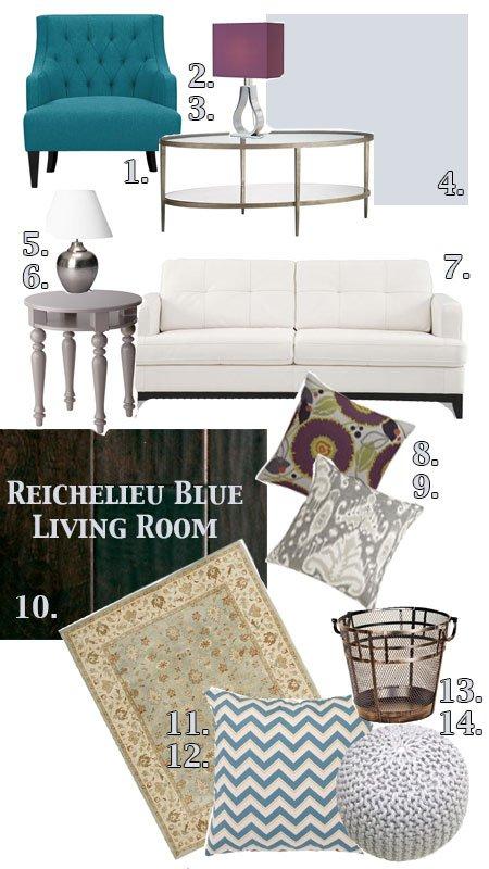 Mood Board: Richelieu Blue Living Room | Atkinson Drive
