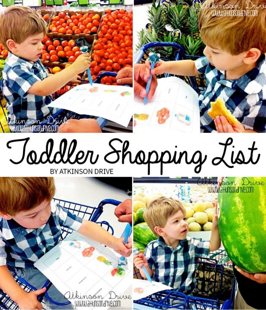 Get your children involved in picking healthy foods at the grocery store with this free printable Toddler Shopping List! /// by Atkinson Drive