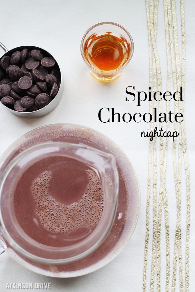 Unwind during the Christmas season with a spiced chocolate nightcap. This decadent hot chocolate takes only a few minutes to make, and is perfect for Christmas and New Year's eve!