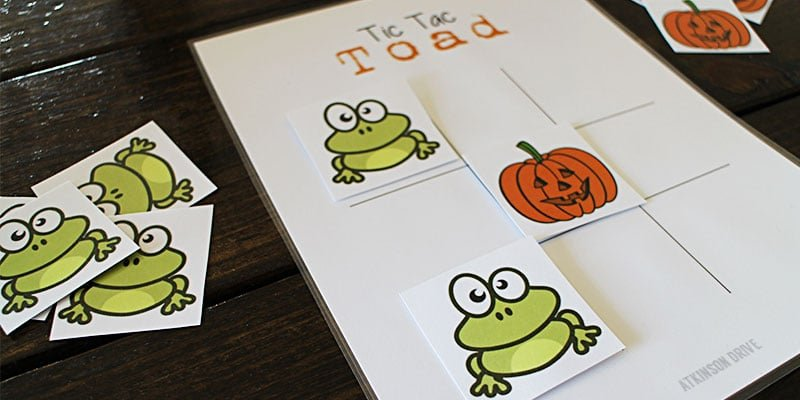 Tic Tac Toad Printable Halloween Game
