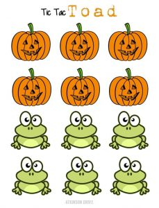 Printable Tic Tac Toad Halloween Game Pieces by Atkinson Drive