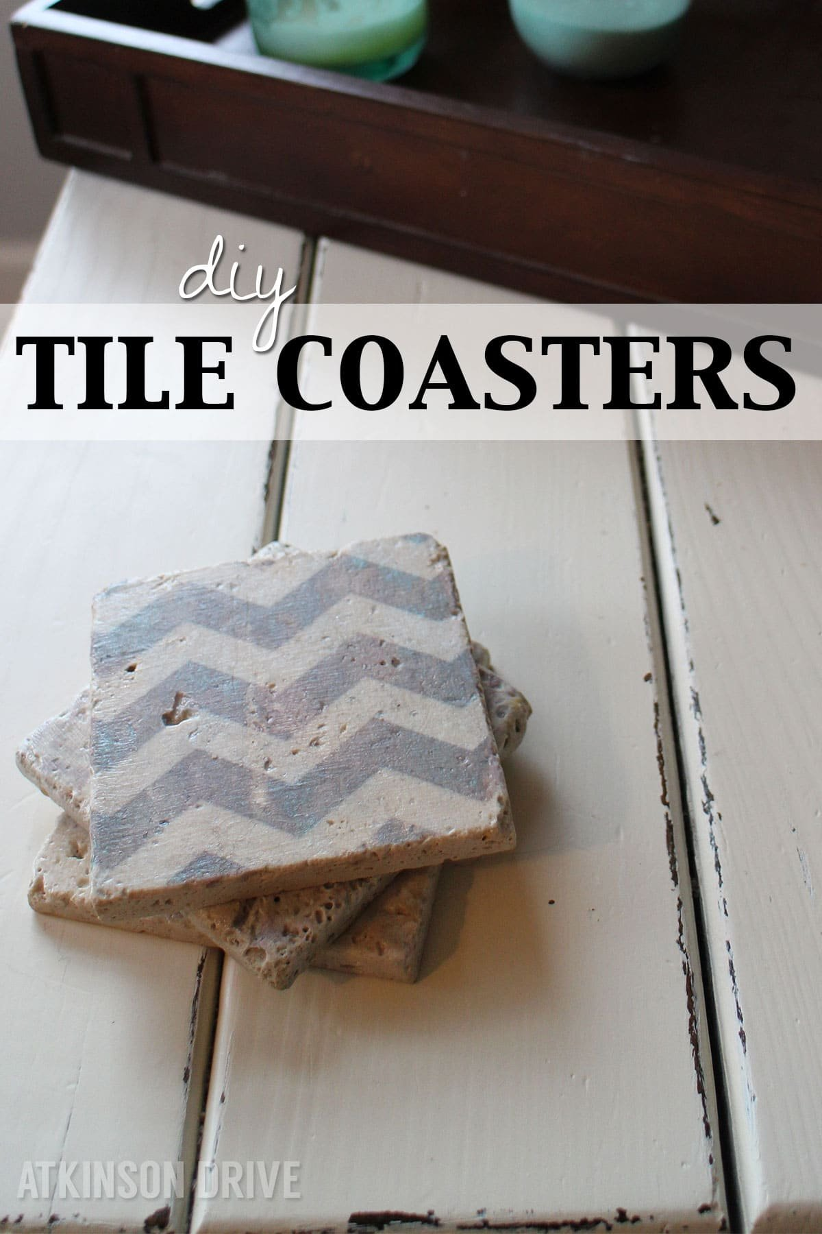 Make your own coasters with this step-by-step tutorial, and $5! Beautiful, and affordable - they also make wonderful gifts for the hoidays. /// by Atkinson Drive (with free printables)