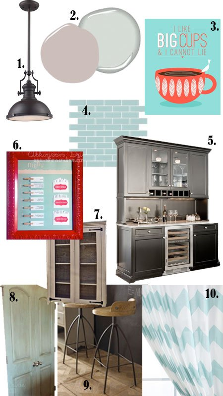 Traditionally Modern Aqua & Red Kitchen Mood Board | Atkinson Drive