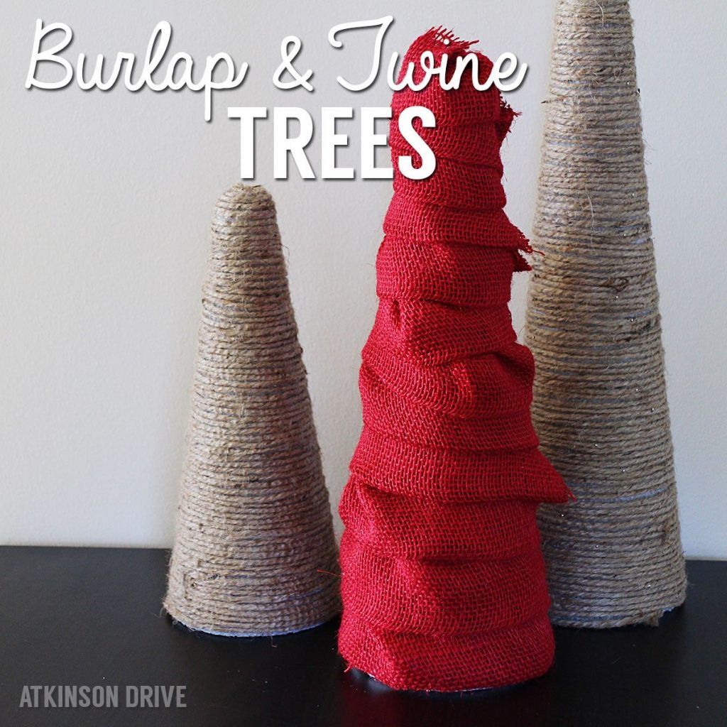 If you have a few minutes, you can make these beautiful burlap and twine wrapped trees. They can be used for Christmas decor, or all year round! /// by Atkinson Drive