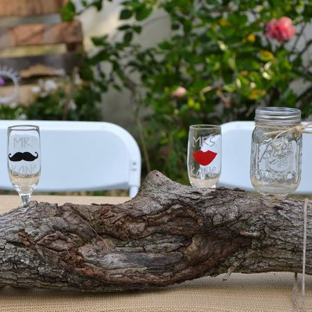 Mr. & Mrs. Etched Wine Glasses with Mustache and Lips | Atkinson Drive