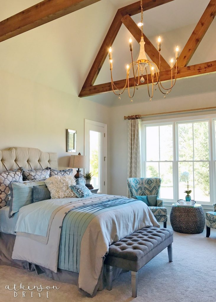 Bright and airy master bedroom with beautiful ceiling beams /// Woodridge Parade of Homes Tour by Atkinson Drive
