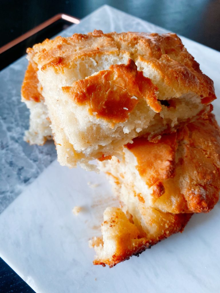 Fluffy butter dip biscuits with a crunchy, golden crust